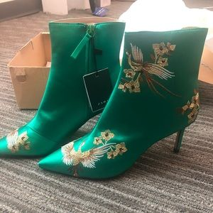 Zara | Green Embroidered Boots